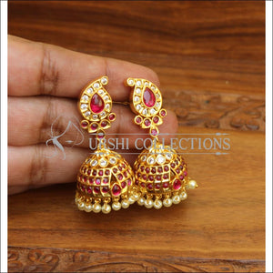 ELEGANT GOLD PLATED REAL KEMPU EARRINGS UTV546 - Earrings