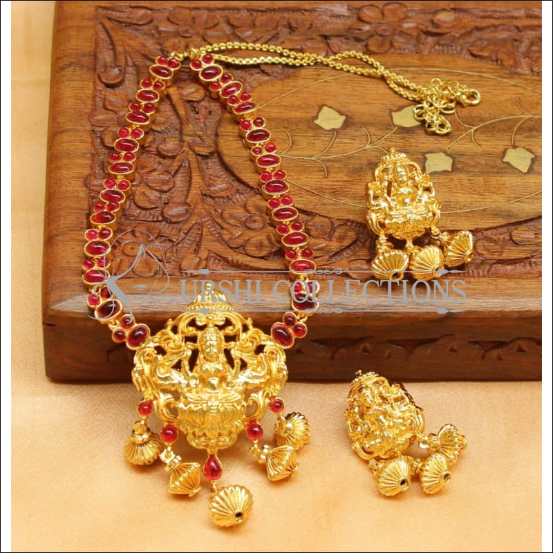 Elegant Gold Plated Temple Necklace Set UC-NEW1460 - Ruby - Necklace Set