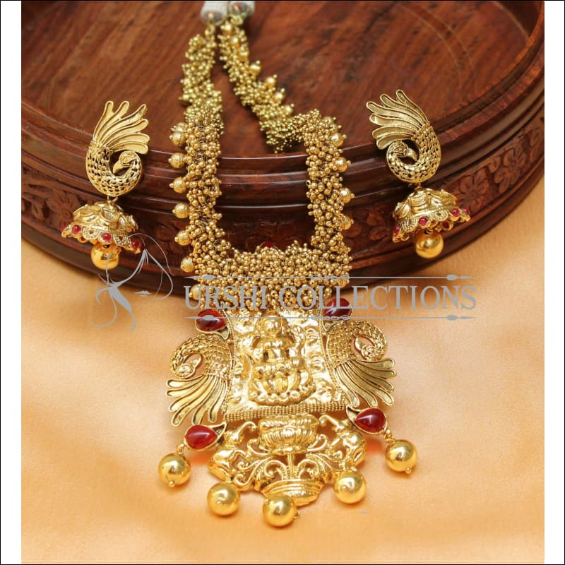 Elegant Gold Plated Temple Necklace Set UC-NEW558 - Necklace Set