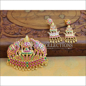 Elegant Gold Plated Temple Pendant Set UC-NEW394 - Ruby and Green - Pendant Set