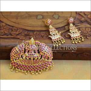 Elegant Gold Plated Temple Pendant Set UC-NEW394 - Ruby - Pendant Set