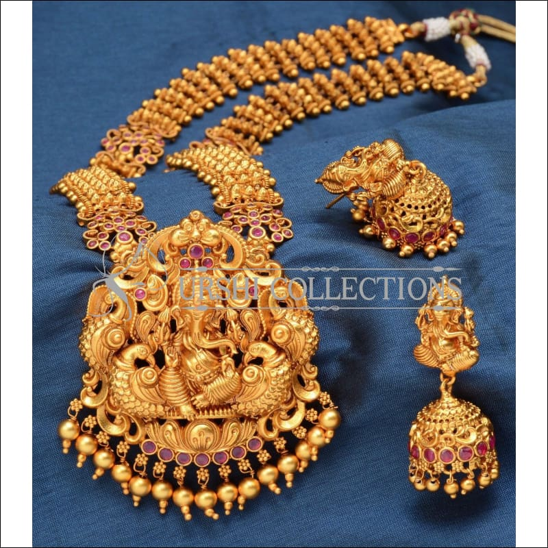 Elegant Matte Finish Ganesha Long Necklace Set UC-NEW252 - Ruby - Necklace Set