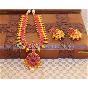 Elegant Matte Finish Kempu Necklace Set UC-NEW2503 - Ruby - Necklace Set