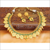 Elegant Matte Finish Lakshmi And Mango Necklace Set UC-NEW686 - Green - Necklace Set