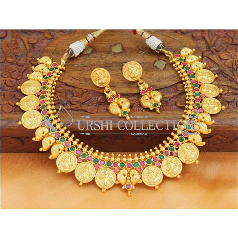 Elegant Matte Finish Lakshmi And Mango Necklace Set UC-NEW686 - Multi - Necklace Set