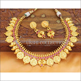 Elegant Matte Finish Lakshmi And Mango Necklace Set UC-NEW686 - Ruby - Necklace Set