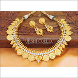 Elegant Matte Finish Lakshmi And Mango Necklace Set UC-NEW686 - White - Necklace Set