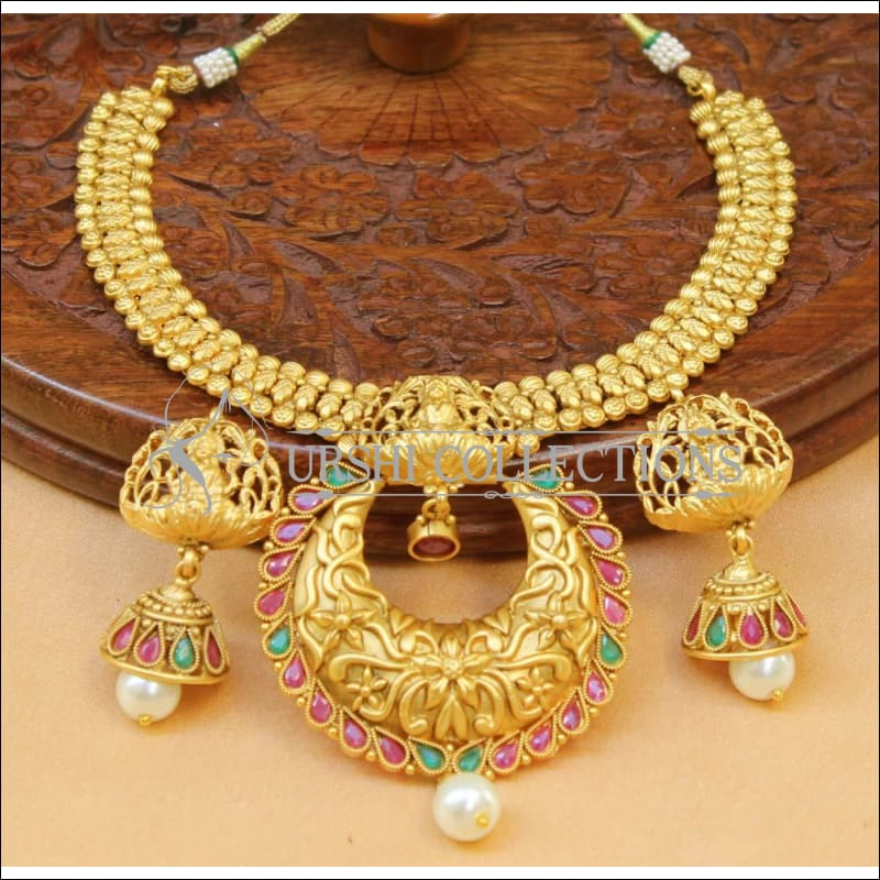 Elegant Matte Finish Lakshmi Necklace Set UC-NEW1210 - Multi - Necklace Set