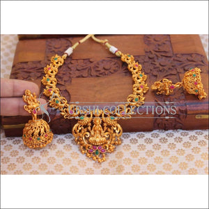Elegant Matte Finish Lakshmi Necklace Set UC-NEW2500 - Multi - Necklace Set