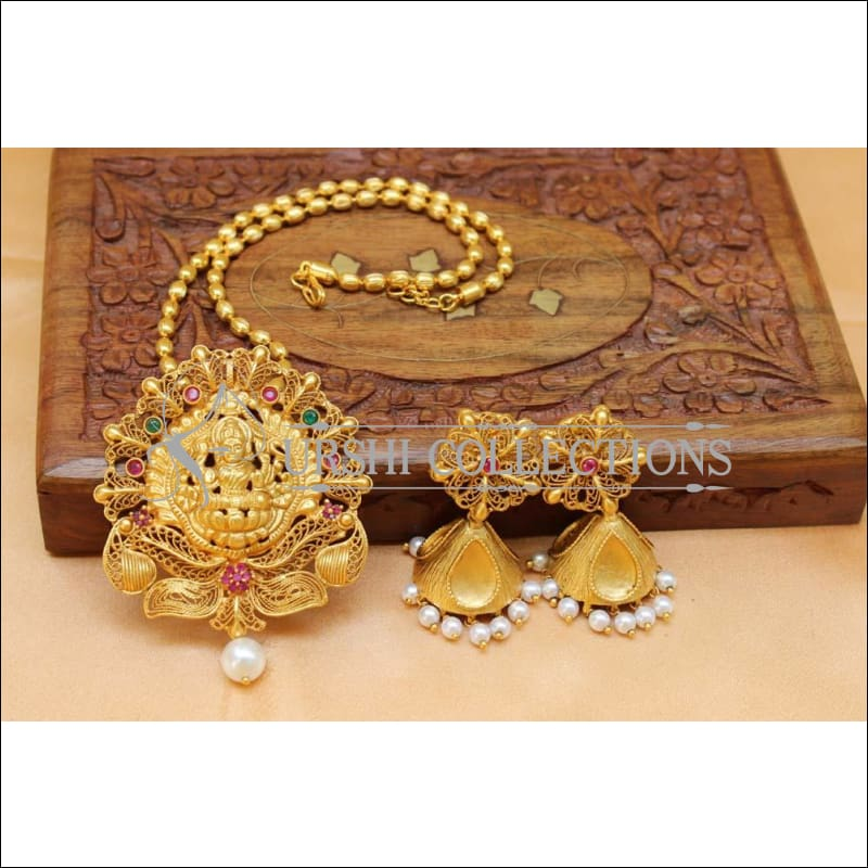 Elegant Matte Finish Lakshmi Pendant Set UC-NEW1162 - Multi - Pendant Set