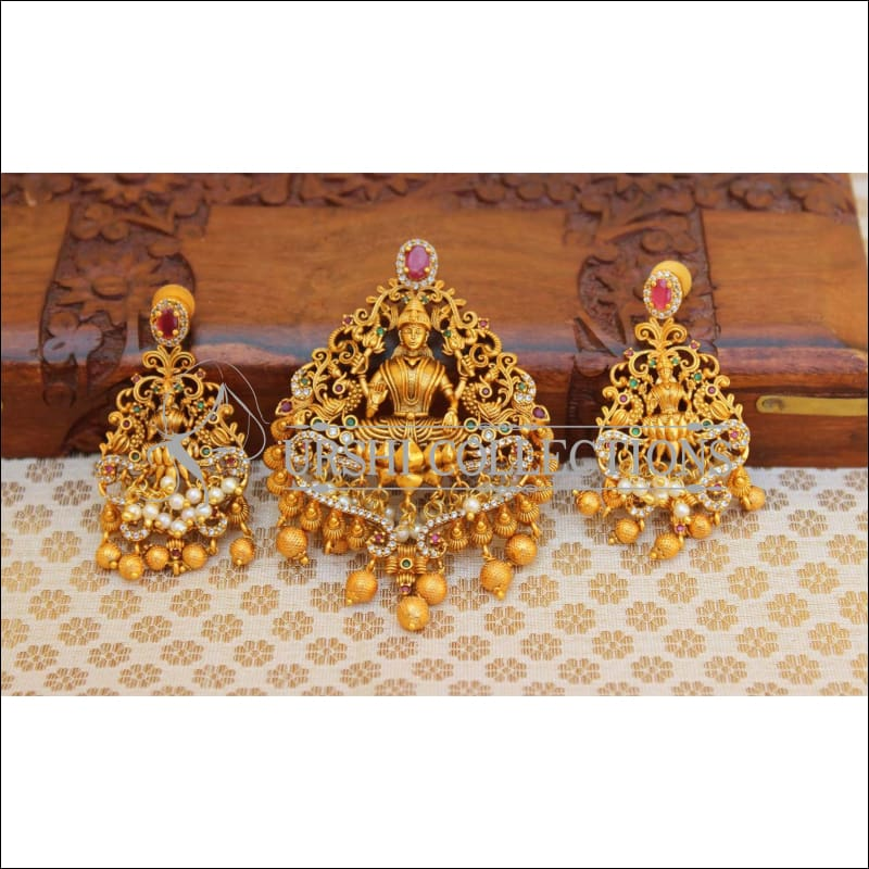 Elegant Matte Finish Lakshmi Pendant Set UC-NEW979 - Multi - Pendant Set