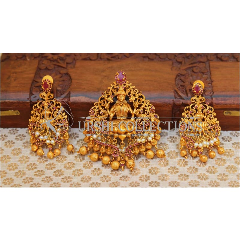 Elegant Matte Finish Lakshmi Pendant Set UC-NEW979 - Pendant Set