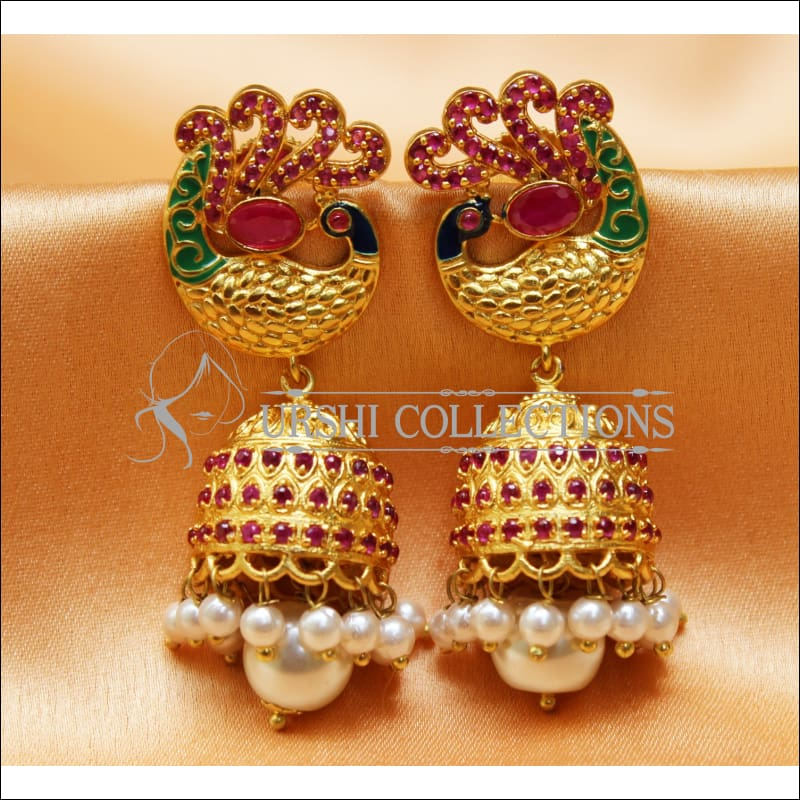 Elegant Matte Finish Peacock Earrings Set UC-NEW639 - Ruby - Earrings