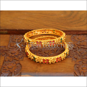 ELEGANT MATTE FINISH TEMPLE BANGLES SET UTV617 - Bangles