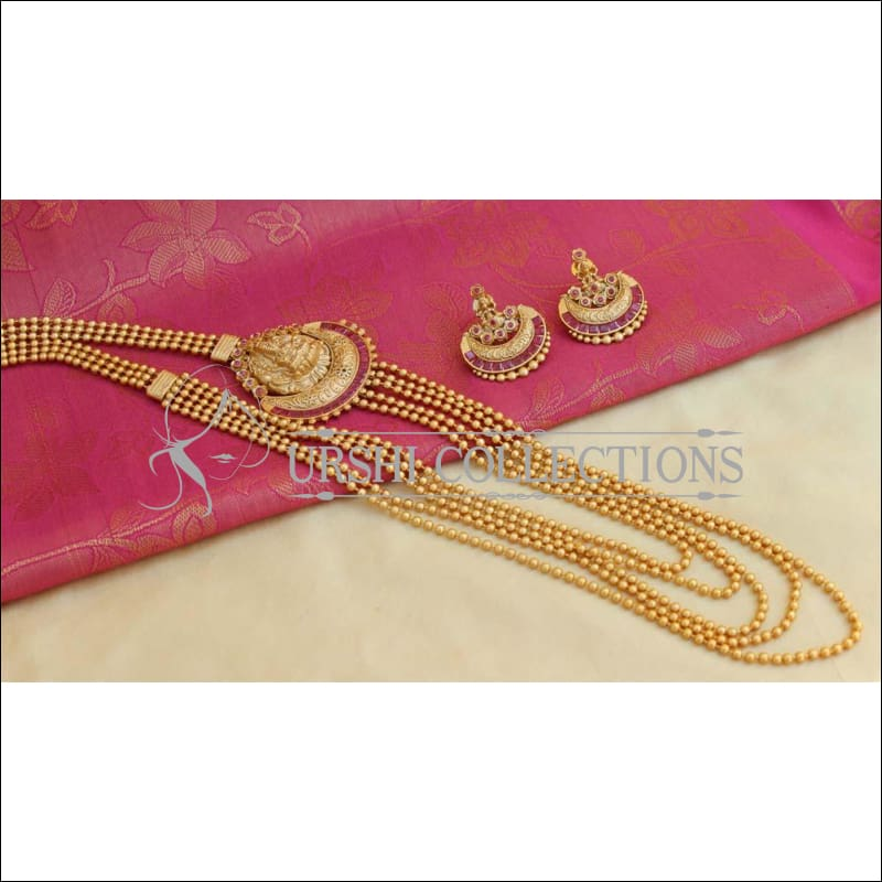 Elegant Matte Lakshmi Necklace Set UC-NEW351 - Ruby - Necklace Set