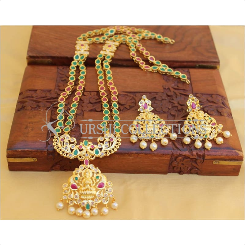 Elegant Traditional Lakshmi Necklace set UC-NEW79 - Green and Red - Necklace Set