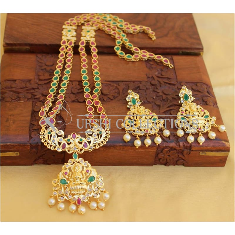 Elegant Traditional Lakshmi Necklace set UC-NEW79 - Red and Green - Necklace Set