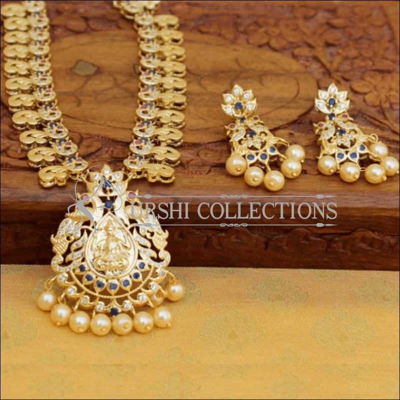 Gold Plated Lakshmi Pendant Necklace Set with Earrings - Blue - Necklace Set