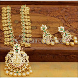 Gold Plated Lakshmi Pendant Necklace Set with Earrings - Green & Pink - Necklace Set