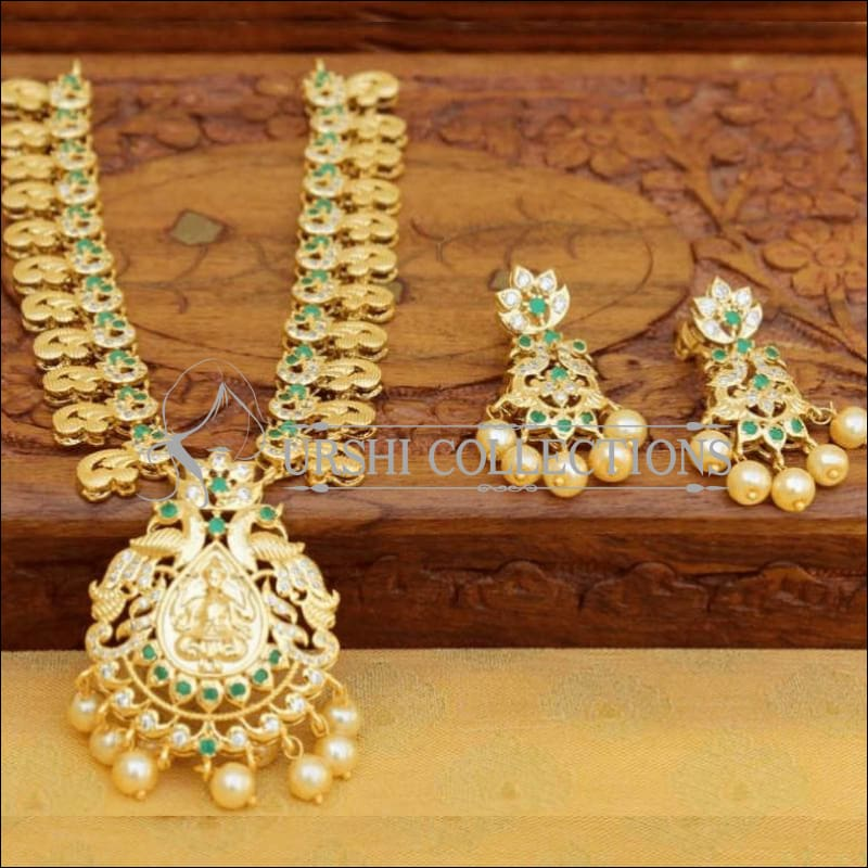 Gold Plated Lakshmi Pendant Necklace Set with Earrings - Green - Necklace Set