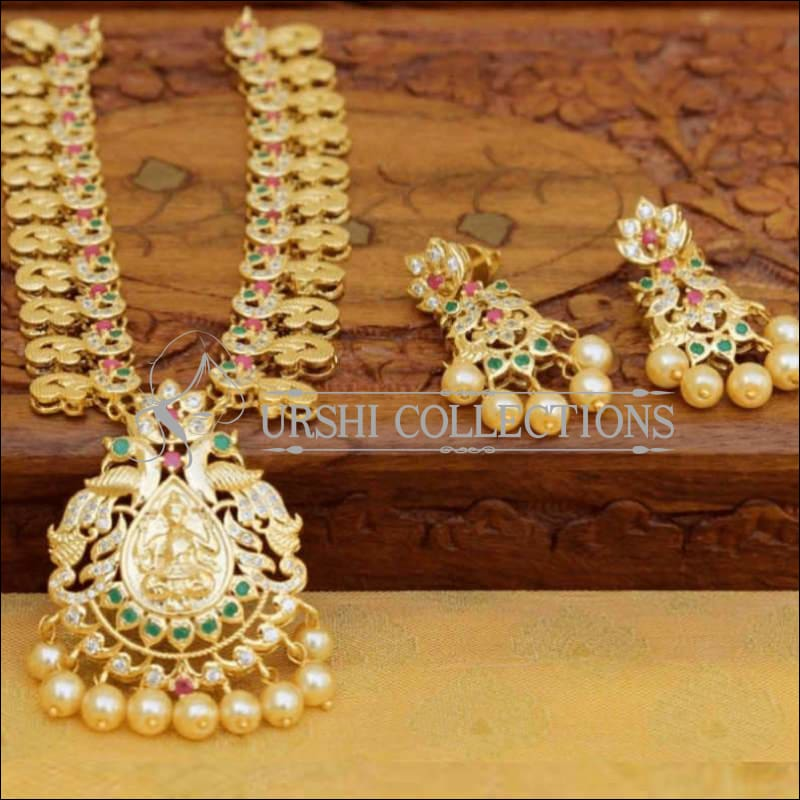 Gold Plated Lakshmi Pendant Necklace Set with Earrings - Pink & Green - Necklace Set