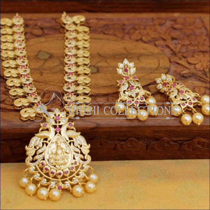 Gold Plated Lakshmi Pendant Necklace Set with Earrings - Pink - Necklace Set