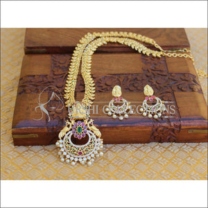 GOLD PLATED LONG TEMPLE PEACOCK NECKLACE SET UTV195 - Necklace Set