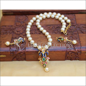 GOLD PLATED PEACOCK MALA SET UC-NEW3032 - Necklace Set