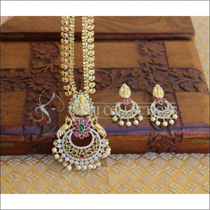 GOLD PLATED TEMPLE PEACOCK NECKLACE SET UTV194 - Necklace Set