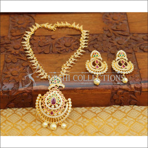 LOVELY CZ GOLD PLATED NECKLACE SET UTV105 - Necklace Set