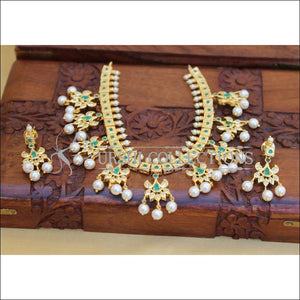 LOVELY GOLD PLATED NECKLACE SET UC-NEW3121 - GREEN - Necklace Set