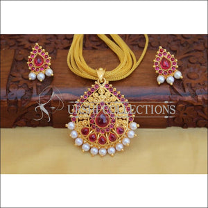LOVELY GOLD PLATED PENDANT SET UC-NEW3070 - Pendant Set