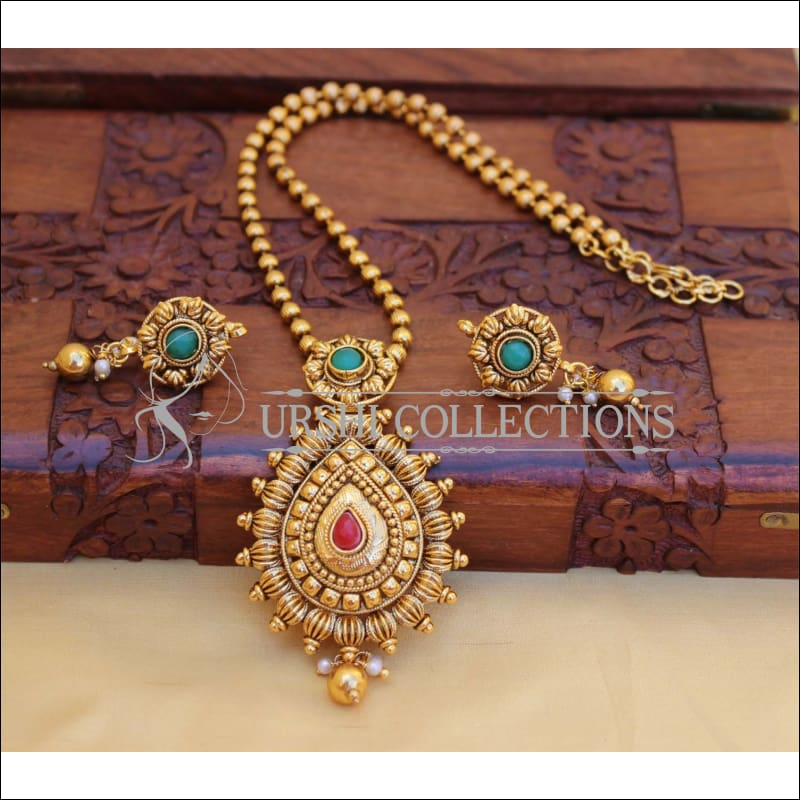 LOVELY GOLD PLATED PENDANT SET UC-NEW3126 - Pendant Set