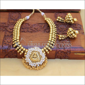 LOVELY GOLD PLATED TEMPLE NECKLACE SET UC-NEW3118 - Necklace Set