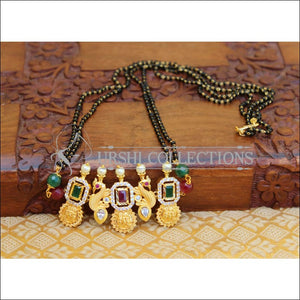 LOVELY PEACOCK BLACK BEAD HANDMADE NECKLACE UTV168 - MULTY - Mangalsutra