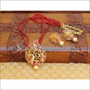 LOVELY PEACOCK PENDANT SET WITH CRYSTAL BEADS UTV119 - Pendant Set