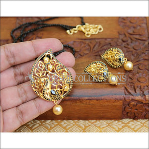 LOVELY PEACOCK PENDANT SET WITH CRYSTAL BEADS UTV120 - Pendant Set