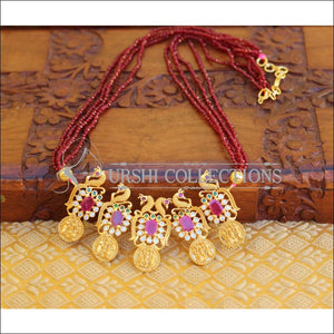 LOVELY PEACOCK RAM PARIVAR CRYSTAL BEAD NECKLACE SET UC-NEW3322 - MAROON - Necklace Set