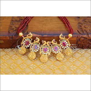 LOVELY PEACOCK RAM PARIVAR CRYSTAL BEAD NECKLACE SET UC-NEW3322 - Necklace Set
