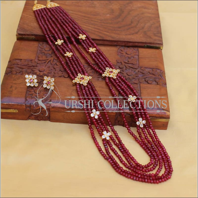 LOVELY RUBY BEADS NECKLACE SET UC-NEW3074 - Necklace Set