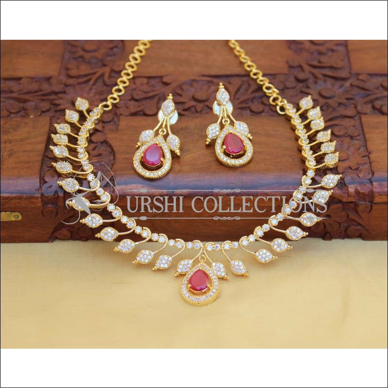 LOVELY RUBY CZ NECKLACE SET UC-NEW3120 - Necklace Set