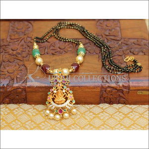 LOVELY TEMPLE BLACK BEAD HAND MADE NECKLACE UTV50 - Mangalsutra