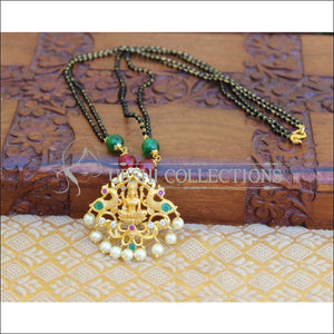 LOVELY TEMPLE BLACK BEAD HANDMADE NECKLACE UTV162 - Mangalsutra