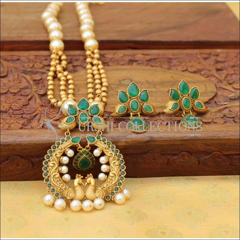 Matte Finish Elegant Peacock Necklace Set UC-NEW365 - Green - Necklace Set
