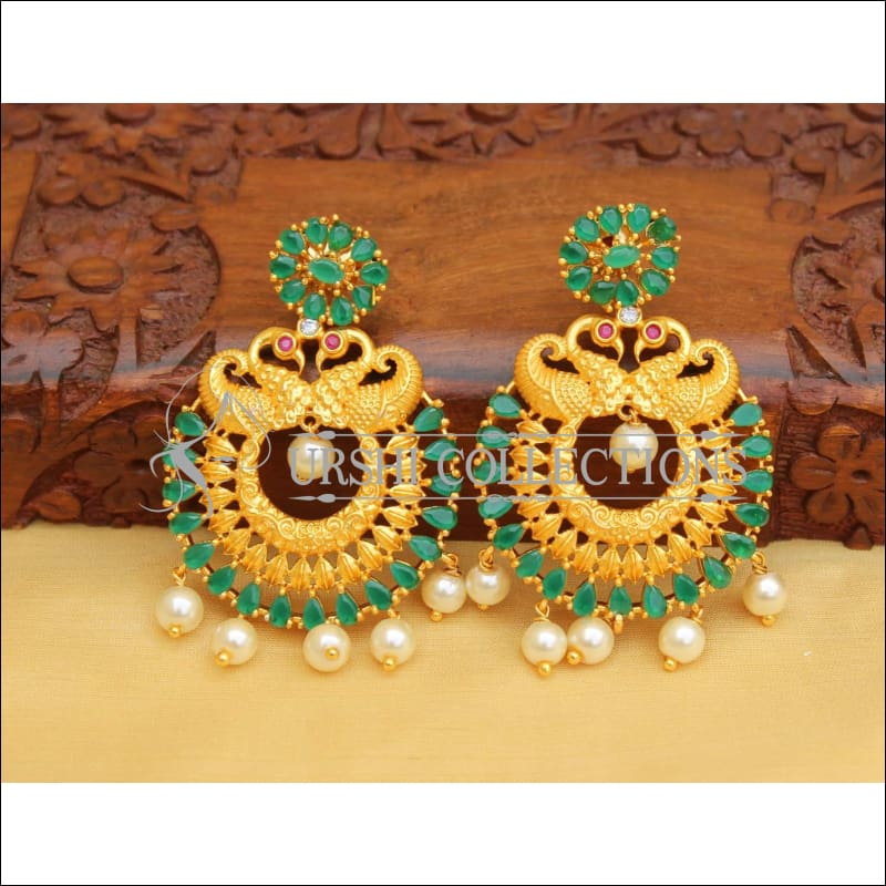 MATTE FINISH PEACOCK EARRINGS UC-NEW2887 - green - Earrings