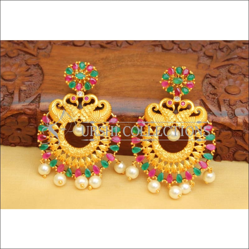 MATTE FINISH PEACOCK EARRINGS UC-NEW2887 - multi - Earrings