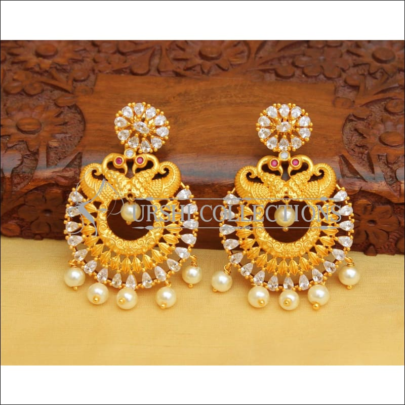 MATTE FINISH PEACOCK EARRINGS UC-NEW2887 - white - Earrings