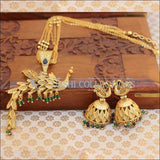 Matte Finish Peacock Pendant With Long Chain And Jhumkas - Green - Necklace Set