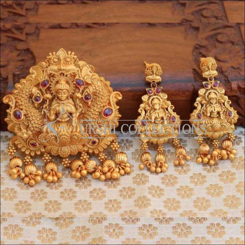 Matte Finish Traditional Temple Design Lakshmi Pendant Set - Pink - Pendant Set
