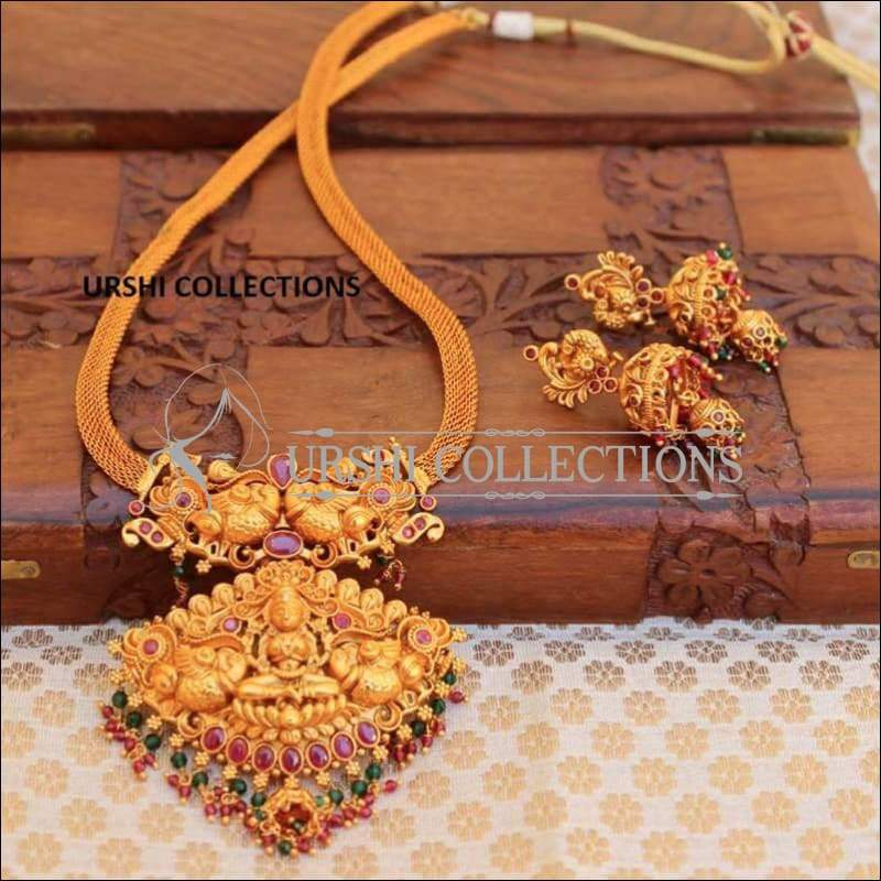 Stone Studded Lakshmi Pendant Temple Necklace Set - Necklace Set